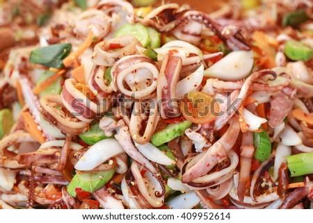 spicy squid, Thai food - stock photo
