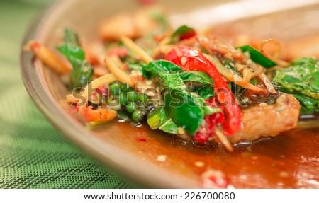 Spicy Stir Fried Fish  - stock photo