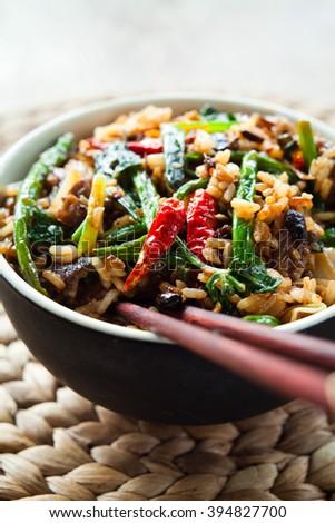 spicy stir fry - stock photo