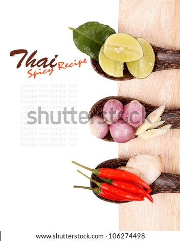 Spicy Thai food ingredients chili, lime,ginger,red onion,lemongrass isolated - stock photo