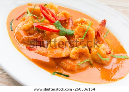Spicy Thai food shrimp with red curry   - stock photo