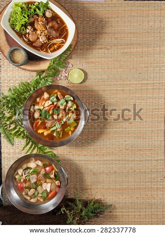 spicy thai soup set - stock photo