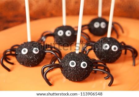 Spider cake pops - stock photo