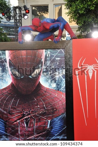 """Spider-Man at the world premiere of """"The Amazing Spider-Man"""" at Regency Village Theatre, Westwood. June 29, 2012  Los Angeles, CA Picture: Paul Smith / Featureflash - stock photo"""