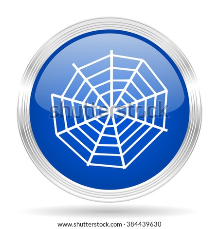 spider modern web blue silver metallic chrome web circle glossy icon