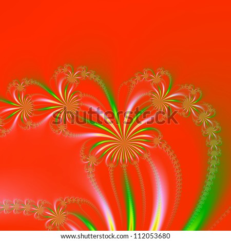 Spider Plant Fractal on Orange Red/Digital abstract image with a spider plant design in orange, green, red and yellow.