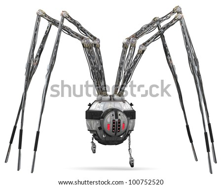 Spider Robot search and destroy - stock photo