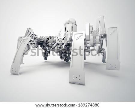 Spider robot using Jansen mechanism and Klann mechanism - stock photo