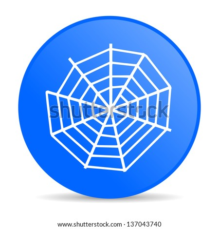 spider web blue circle web glossy icon