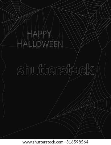 Spider web on dark background - stock photo