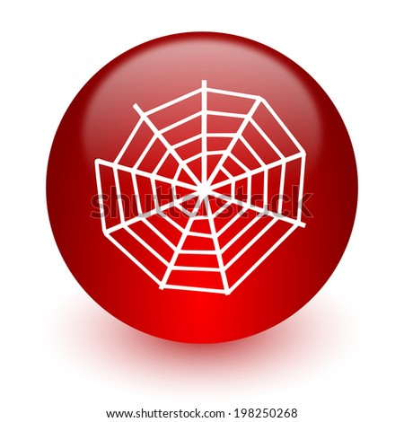 spider web red computer icon on white background