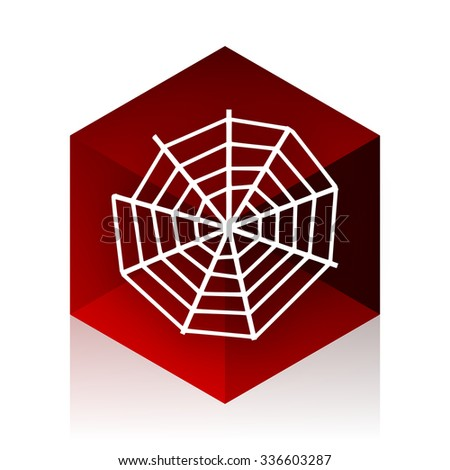 spider web red cube 3d modern design icon on white background