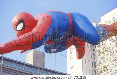 Spiderman Balloon in Macy's Thanksgiving Day Parade, New York City, New York - stock photo