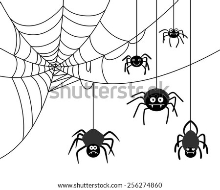 Spiders weave a cobwebs. Dangerous insect, spider webs - stock photo