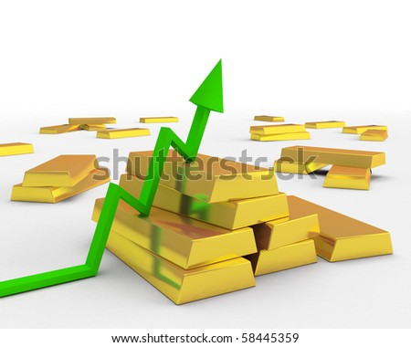 spike and gold ingots - stock photo