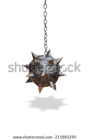 spike wrecking ball and chain isolated on white background - stock photo