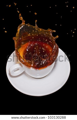 Spill coffee - stock photo