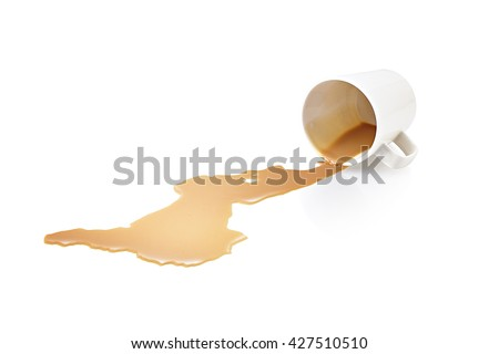 Spilled coffee - stock photo