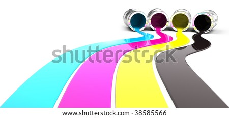 Spilled Cyan, Magenta, Yellow and Black paint - stock photo