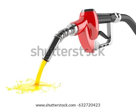 Spilled gasoline isolated on white background. 3d illustration