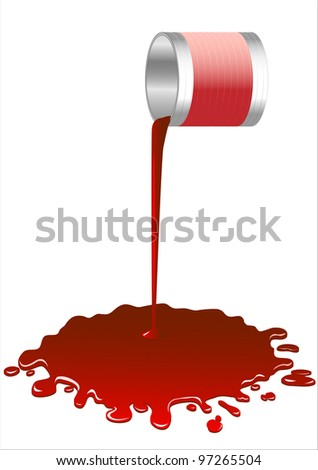 Spilled red paint from a bucket - stock photo