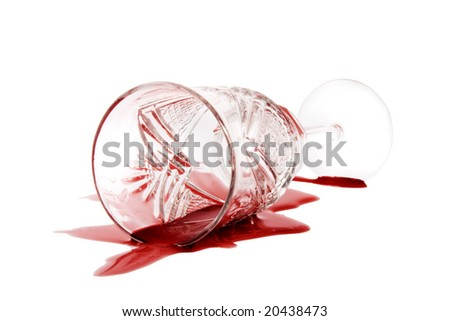 Spilled red wine on white background - stock photo