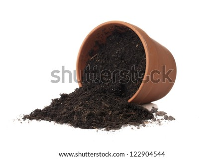 Spilled soil from fallen gardening pot over a white background - stock photo