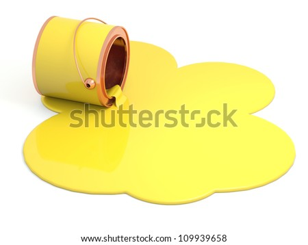 Spilled yellow paint. 3D model - stock photo
