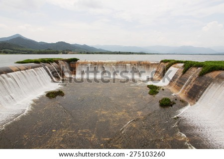 Spillway in the reservoir of Prachuapkirikhan, Thailand. The spillway of the dam