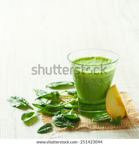 Spinach and apple smoothie - stock photo