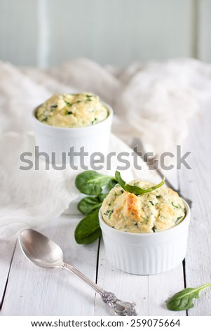 Spinach and cheese souffle - classic french dish