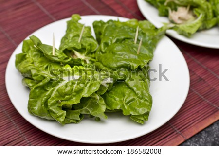 Spinach and tuna wraps - stock photo