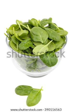 Spinach in a bawl isolated on white