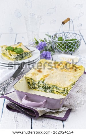 Spinach Lasagne - stock photo
