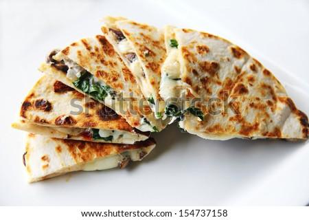 Spinach & Mushroom Quesadilla - stock photo