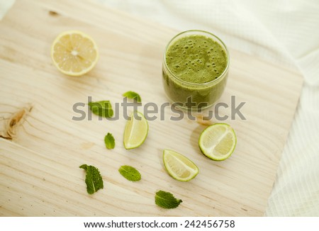 Spinach smoothie. Healthy fresh coctail - stock photo