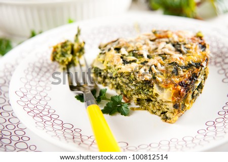 Spinach, Zucchini, and  Parsley Gratin - stock photo