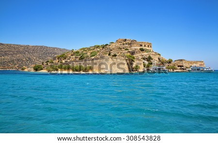 Spinalonga island is a popular tourist attraction in Crete, Greece. - stock photo