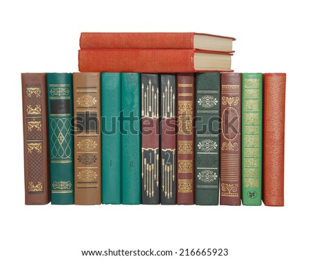 Spine of the books. Isolated on  white background.