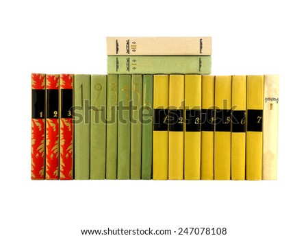 Spine of the color books, books are isolated on white background. - stock photo
