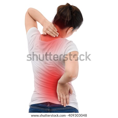 Spine osteoporosis. Scoliosis. Spinal cord problems on woman's back. isolated on white background - stock photo