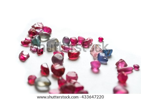 spinel gemstones on white background