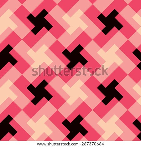 Spinning crosses geometric pattern repeats seamlessly. - stock photo