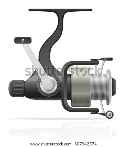 spinning reel for fishing illustration isolated on white background - stock photo