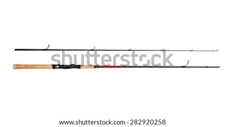 Spinning rod close up isolated on white background - stock photo