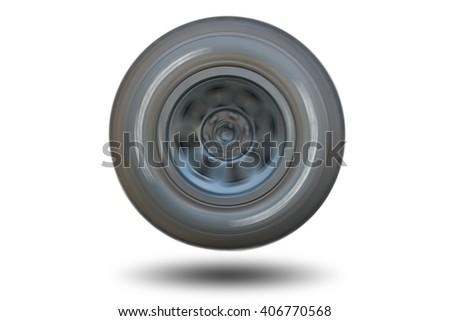 Spinning wheel isolated on white background. - stock photo
