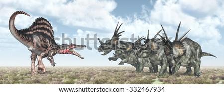 Spinosaurus attacks Styracosaurus Computer generated 3D illustration - stock photo