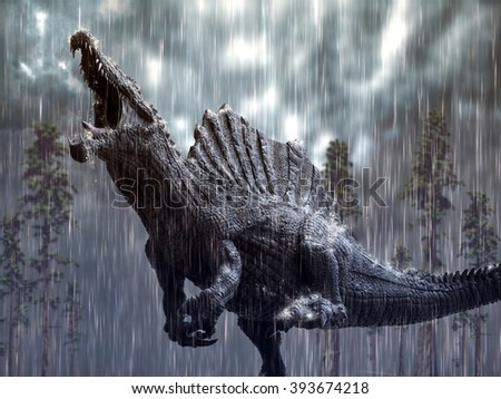 Spinosaurus in a tropical storm. - stock photo
