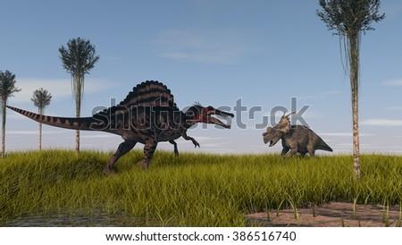 spinosaurus vs achelosaurus  - stock photo