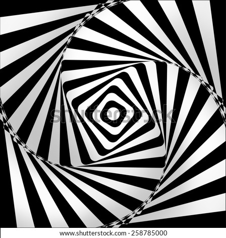 spiral black and white on optical background - stock photo